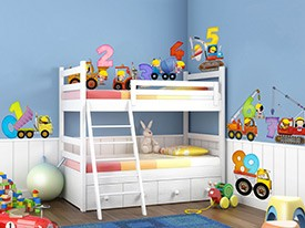 123's Construction Kid Wall Decals