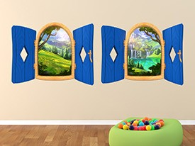 Cartoon Window Wall Decal Set