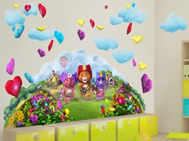 Care Bears Chasing Hearts Wall Decals