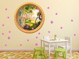 Pink Flower Window Wall Decal