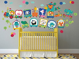 Circus Animal Train Wall Decal
