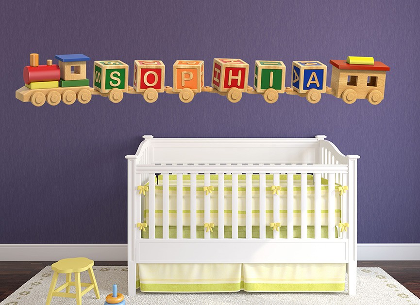Customizable Wooden Train Wall Decals