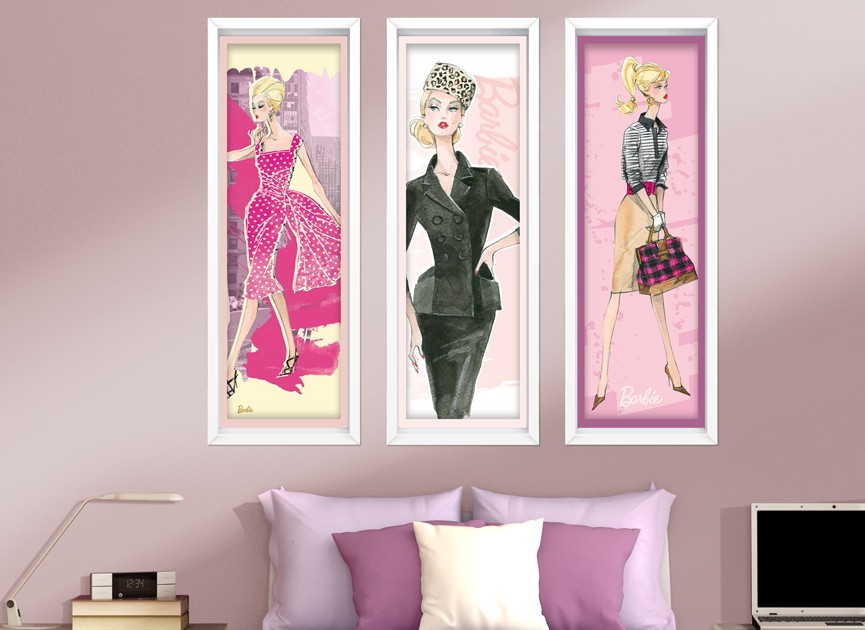 Barbie framed art wall decals for Barbie wall mural