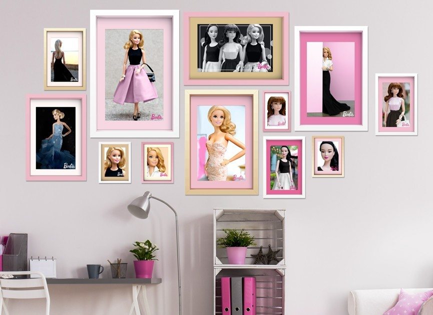 Barbie framed photos wall decals for Barbie wall mural