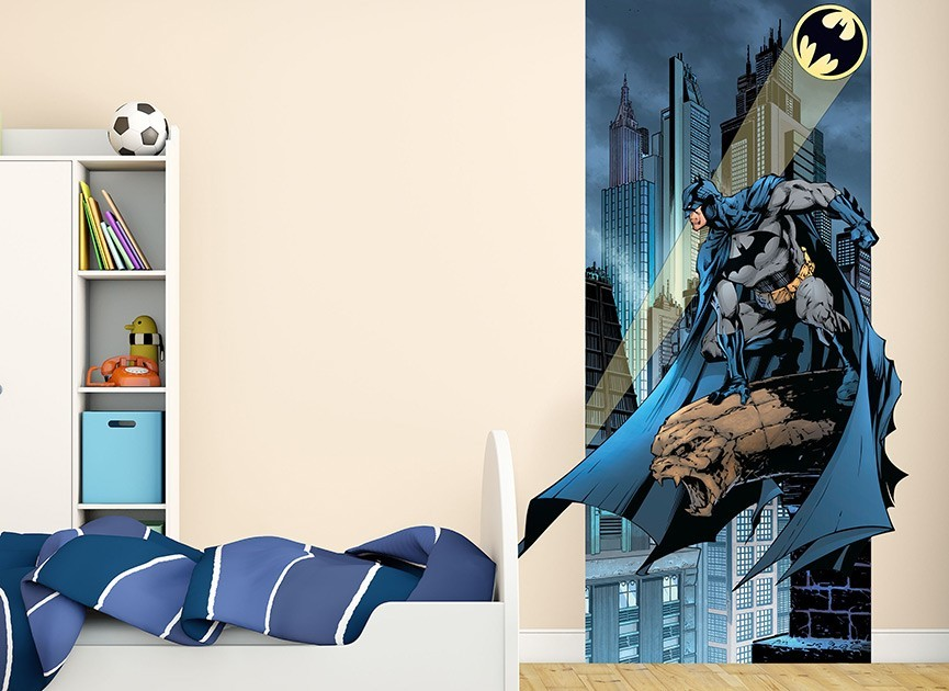Batman and bat signal wall decal for Batman wall mural decal