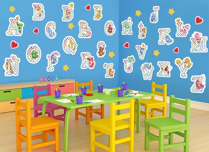 Care bear alphabet wall decals for Care bears wall mural