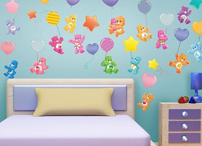 Care bears ballooning wall decals for Care bears wall mural