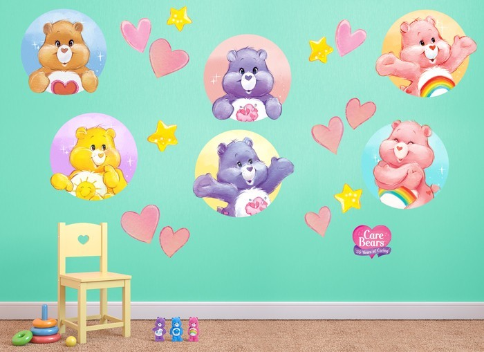Care bears hearts stars wall decal set for Care bears wall mural