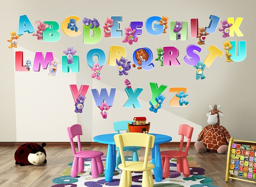 Care bears rainbow alphabet wall decals for Care bears wall mural