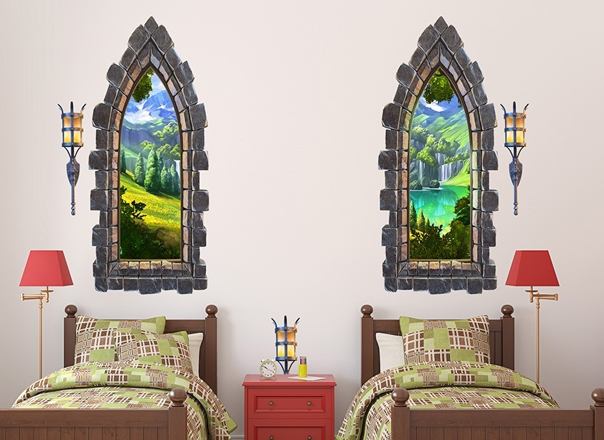 Grey castle windows wall decals for Castle wall mural sticker
