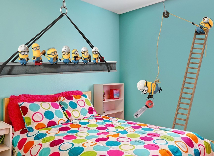 Minions construction site wall decals for Construction site wall mural