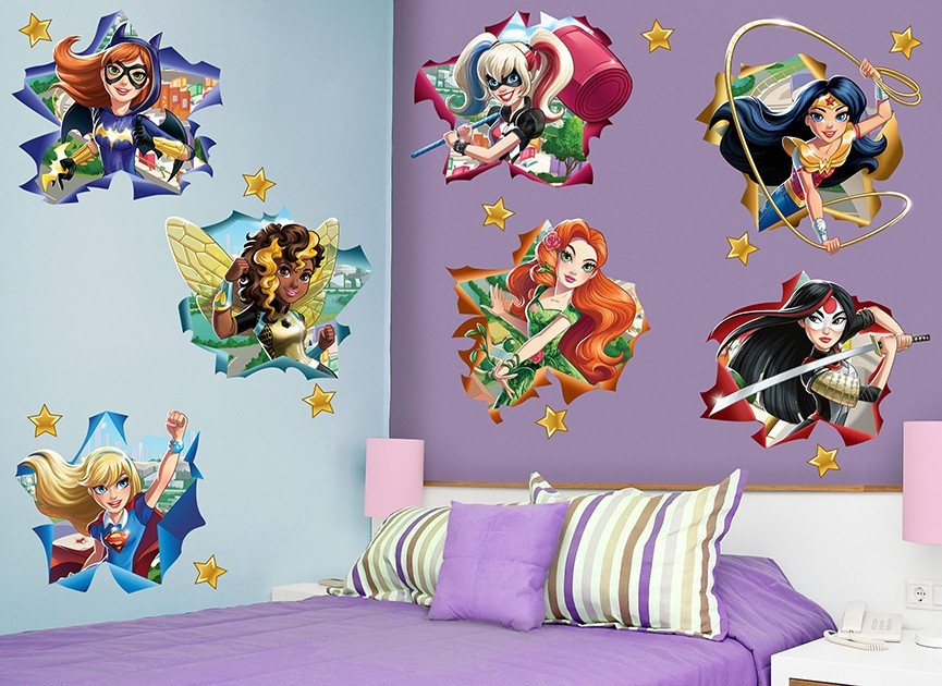 dc super hero girls star wall decal set set pow superhero punch wall stickers kids wall stickers