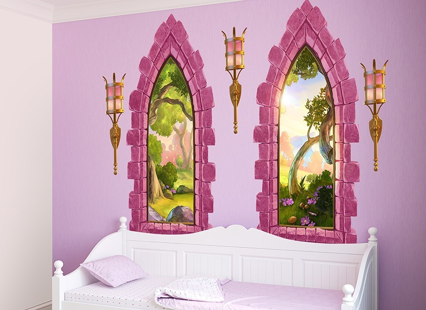 Pink castle windows wall decals for Castle wall mural sticker