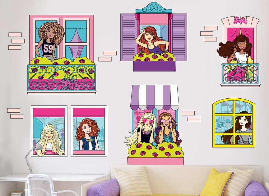 Barbie windows wall decal set for Beautiful barbie wall decals
