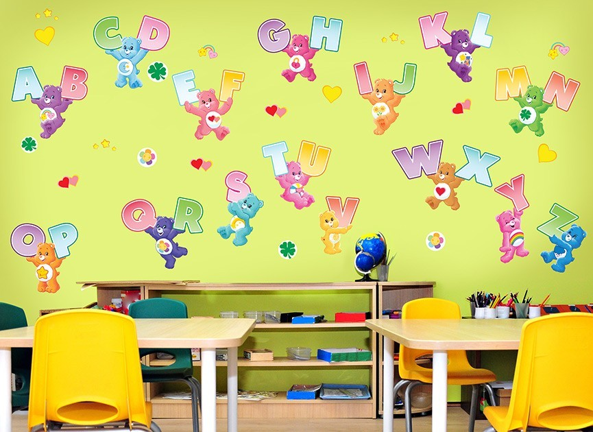 Care bears alphabet wall decals for Care bears wall mural