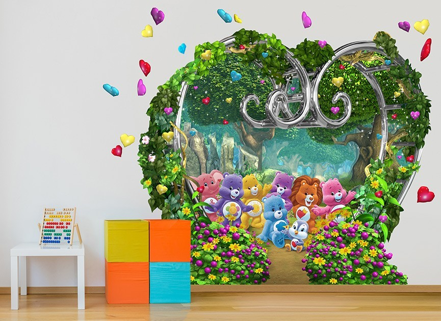Care bears garden wall decal for Care bears wall mural