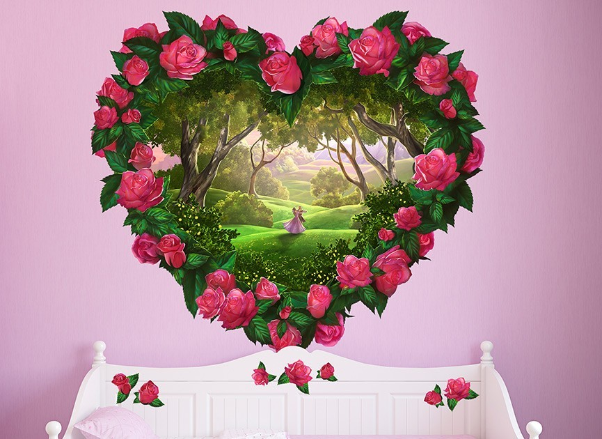 Heart fantasy flowers wall decal