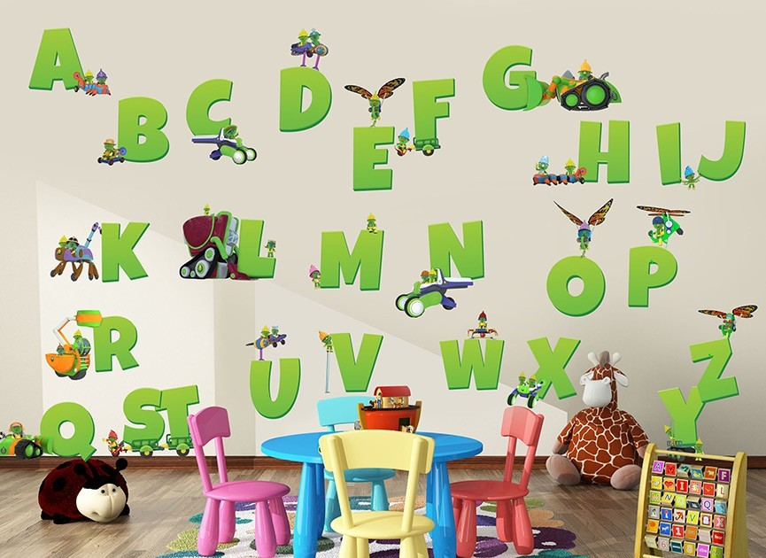 Doozers alphabet wall decals for Alphabet wall mural