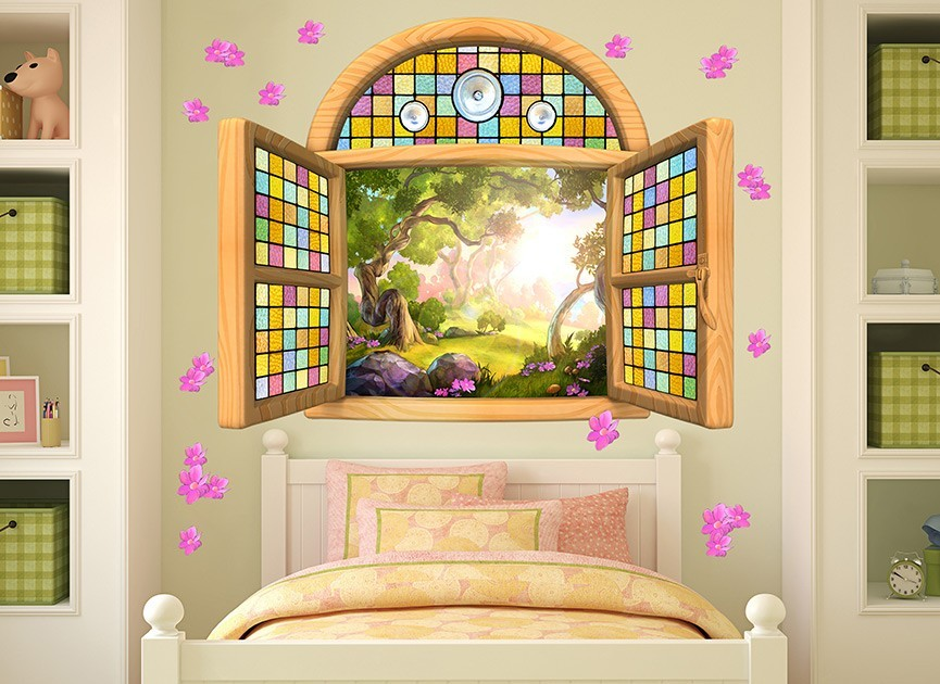 Rainbow Stained Glass Window Wall Decal