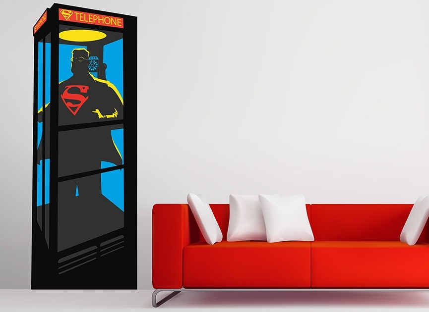 Superman Phone Booth Wall Decal
