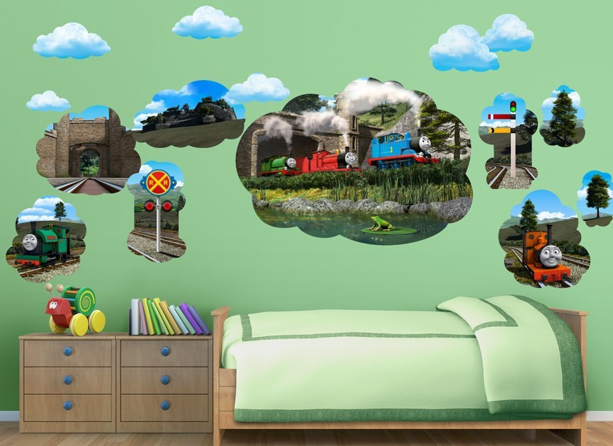 thomas friends mural decal set. Black Bedroom Furniture Sets. Home Design Ideas