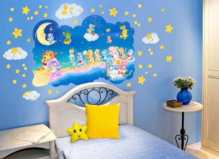 Care bears walking on clouds wall decals for Care bears wall mural