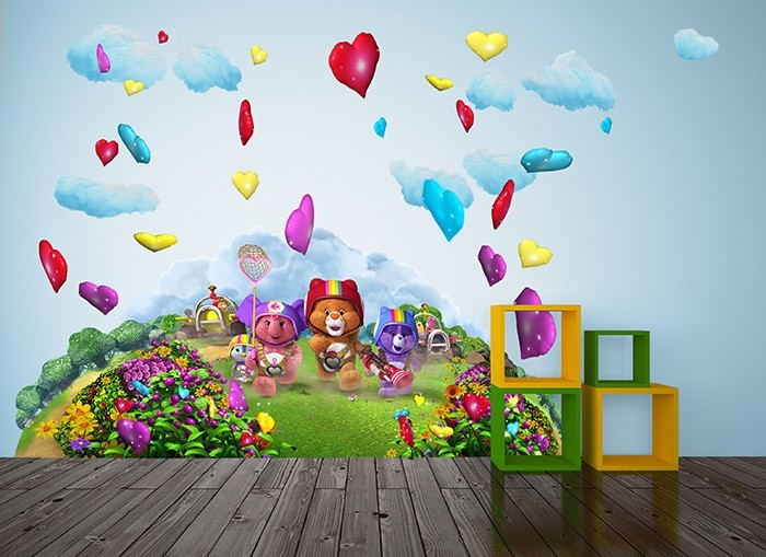 Care bears chasing hearts wall decals for Care bears wall mural