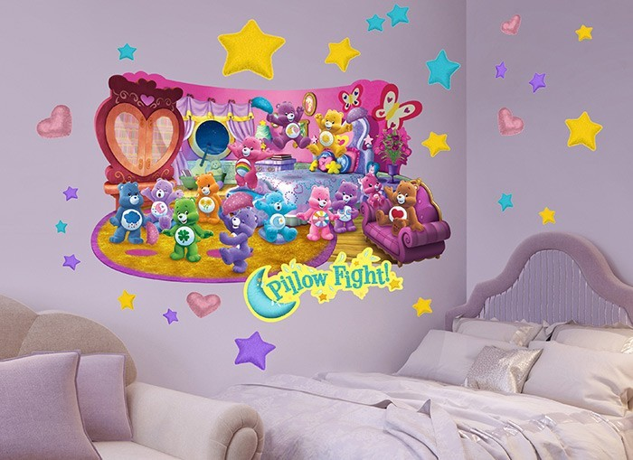 Care bears pillow fight wall decal for Care bears wall mural