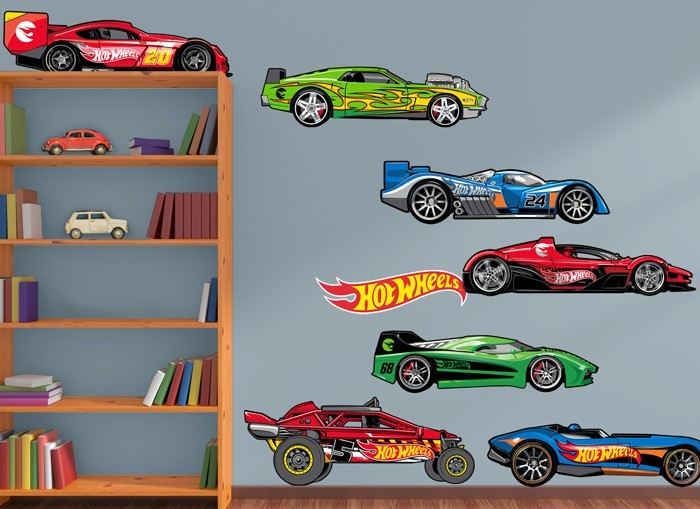Hot wheels cars wall decal set for Cars wall mural sticker