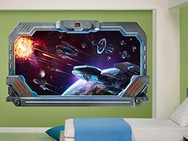 Galactic Battle Window Wall Decal