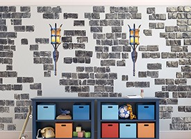 Grey Castle Brick Wall Decals