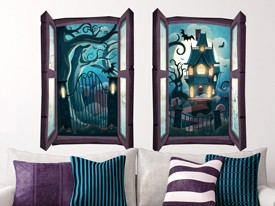 Haunted House Window Wall Decals