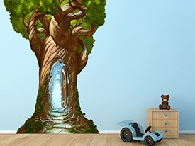 Magical Tree With Door Wall Decal