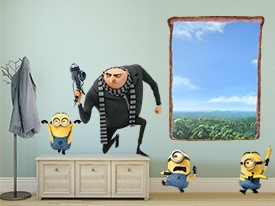 Minions and Gru Breaking-In Wall Decal