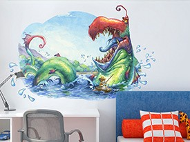 Monster Fishing Wall Decal