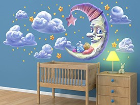 Moon and Star Wall Decal