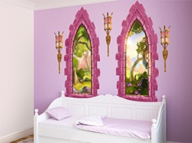 Pink Castle Windows Wall Decals