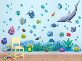 Rainbow Fish Ocean Friends Wall Decal Set