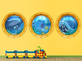 Rainbow Fish Sub Windows Wall Decal