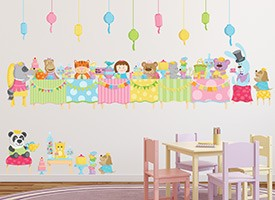 Toy Friends Tea Party DIY Wall Decals