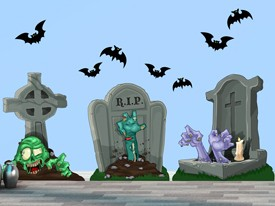 Zombie Cemetery Tombstone Wall Decal Set