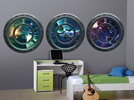 3 Spaceship Windows Wall Decal Set