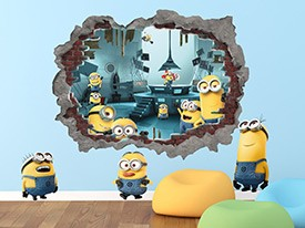Minions Blasting In Wall Decal