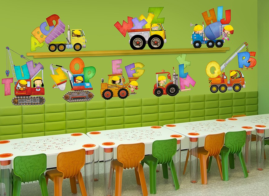 Construction Kids ABC's Wall Decal Set
