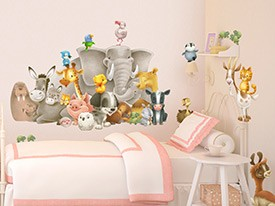 Animal Friends Wall Decal Set & Monster Train Wall Decal