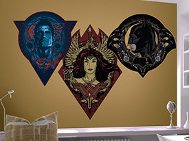 Batman v Superman Badges Wall Decal