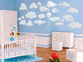 Blue Clouds Wall Decal Set