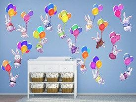 Bunnies and Balloons Wall Decal