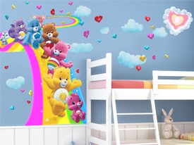 Care Bears Surfing Rainbow Wall Decal