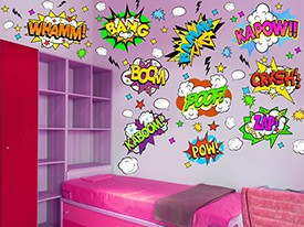 Superhero Action Words Wall Decal Set
